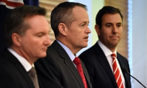 The shadow treasurer, Chris Bowen, the Labor leader, Bill Shorten, and the opposition finance spokesman, Jim Chalmers