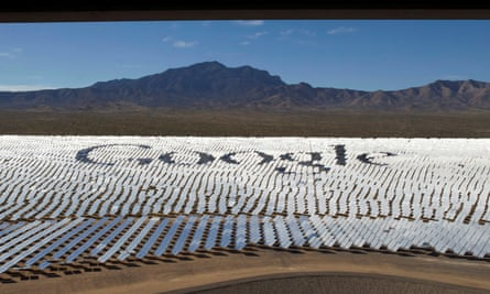 Google logo is spelled out in heliostats during a tour of the Ivanpah Solar Electric Generating System in the Mojave Desert near the California-Nevada border