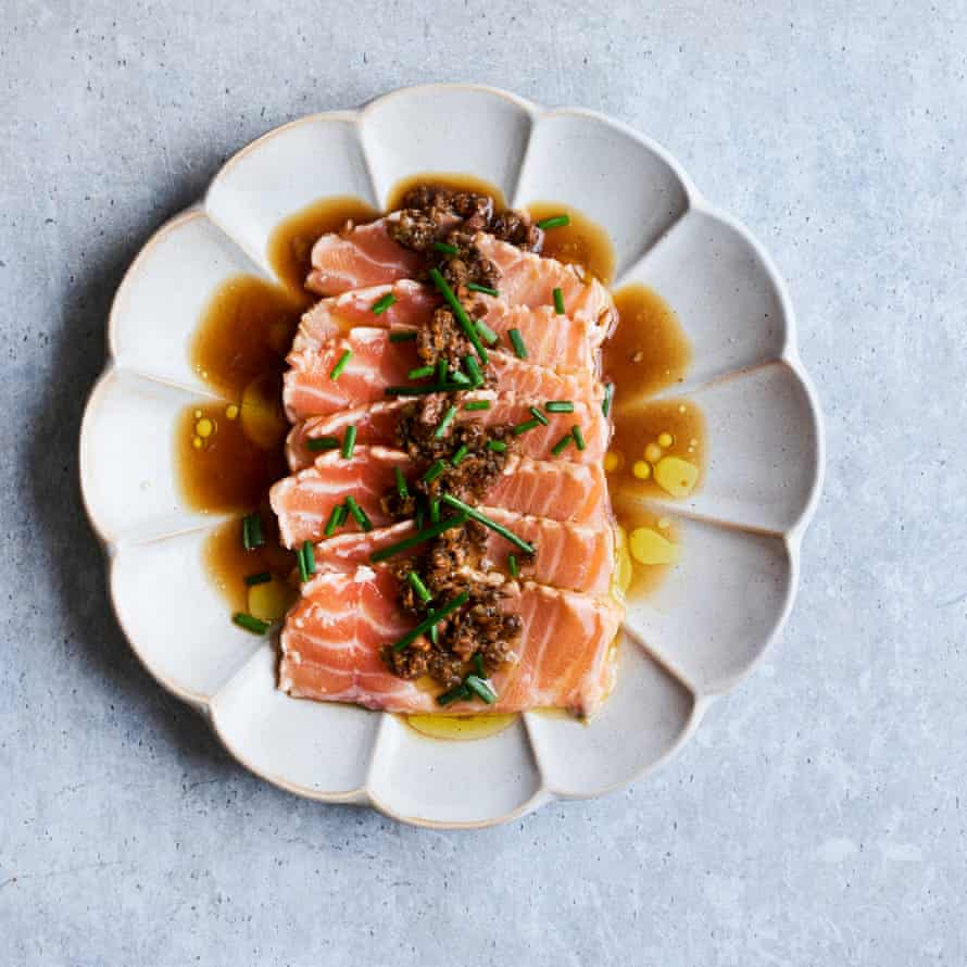 Masaki Sugisaki's seared salmon sashimi with ponzu sauce and porcini salsa.