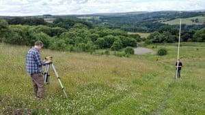 Phil Renforth (left) surveying the slag tips in Consett.