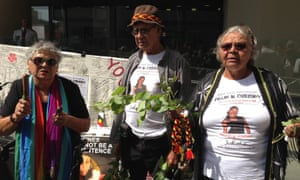 Family of Ms Dhu, including her mother Della Roe and grandmother Carol Roe, speak to reporters in November 2015 outside the inquest into the Yamatji woman's death.