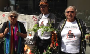 Family and supporters of Ms Dhu outside the inquest in Perth