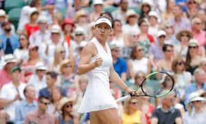 Halep celebrates as she takes another point.
