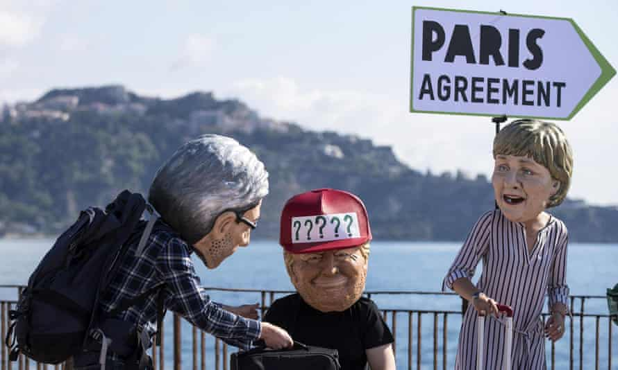 Protesters dressed as Italian prime minister Paolo Gentiloni, Donald Trump and Angela Merkel, Sicily, May 2017