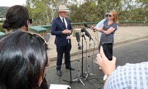 Barnaby Joyce announces his resignation to media in Armidale on Friday.