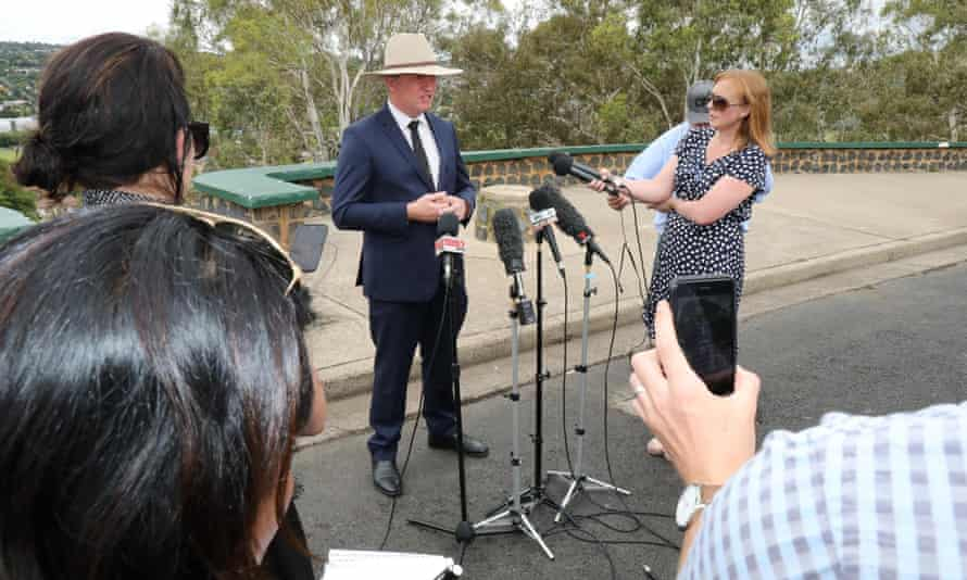 Barnaby Joyce announces his resignation to media in Armidale on Friday.
