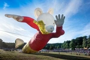 A Rupert Bear-shaped balloon at the Bristol balloon festival, UK