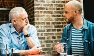Jeremy Corbyn being interviewed by NME editor, Mike Williams.