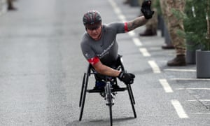 David Weir wins the elite wheelchair race in the 2018 Simply Health Great North Run.