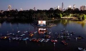 The sail-in floating cinema in Tel Aviv's Hayarkon Park.