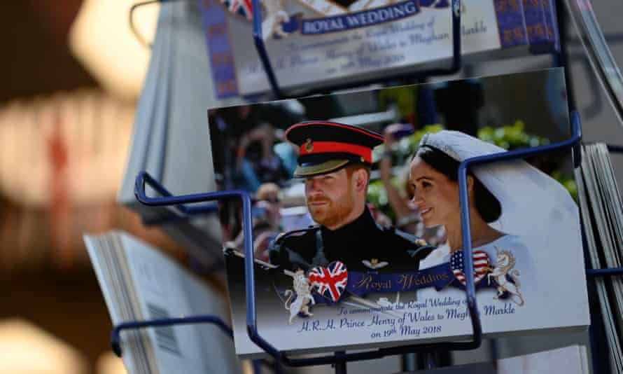 A postcard of the Duke and Duchess of Sussex's wedding in 2018.
