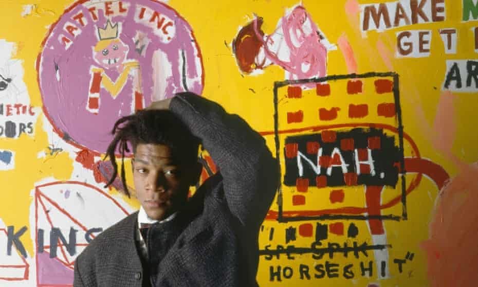 Jean-Michel Basquiat at an exhibition of his work in 1988