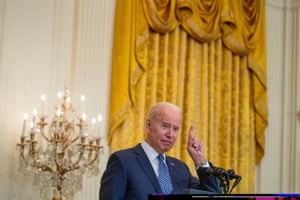 Joe Biden deliver remarks in honor of labor unions during an event in the East Room of the White House.