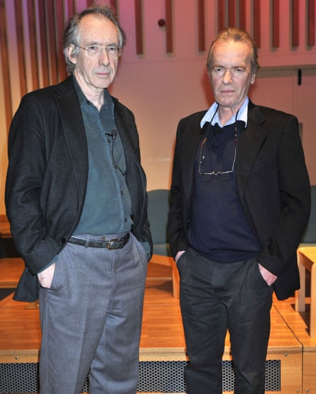With his old friend Martin Amis.