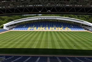 TOPSHOT-RUGBYU-WC-2019-FUKUOKATOPSHOT - Overview of the Fukuoka Hakatanomori stadium, one of the venues for the 2019 Rugby World Cup, in Fukuoka on June 10, 2019. (Photo by Toshifumi KITAMURA / AFP) (Photo credit should read TOSHIFUMI KITAMURA/AFP/Getty Images)