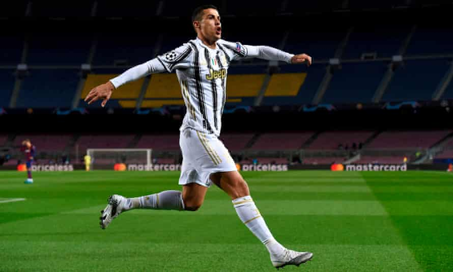 Cristiano Ronaldo winds up for his big celebration after scoring Juventus's decisive third goal at Barcelona in the race to win their Champions League group.