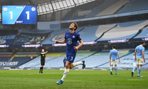 Marcos Alonso of Chelsea celebrates after scoring their second goal.