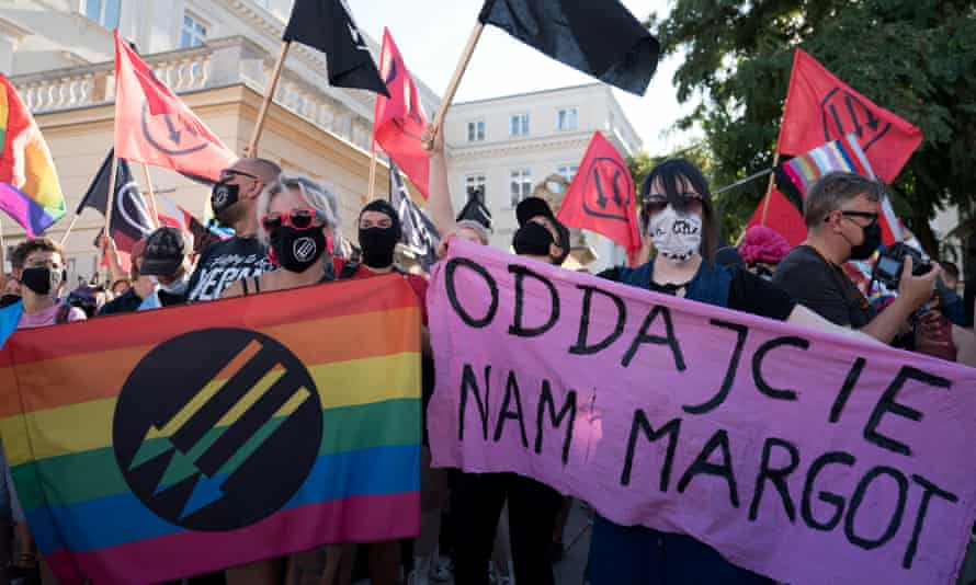 Members of the LGBT community and its supporters demonstrate in Warsaw on 16 August.