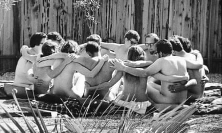 Nude Encounter GroupView of participants as they sit in a circle, arms over one another's shoulders, during a nude encounter group therapy session at the Esalen Institute, Big Sur, California, 1968. The Esalen Institute was a focal point for the Human Potential Movement, and featured a number of different workshops for attendees. This one, run by psychiatrist Paul Bindrim, was a Marathon Workshop where participants spent an extended period of time (20 - 48 hours) nude together in an effort to locate their 'real selves.' (Photo by Ralph Crane/The LIFE Picture Collection/Getty Images)