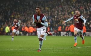 Aston Villa's Ezri Konsa celebrates scoring the late winner.