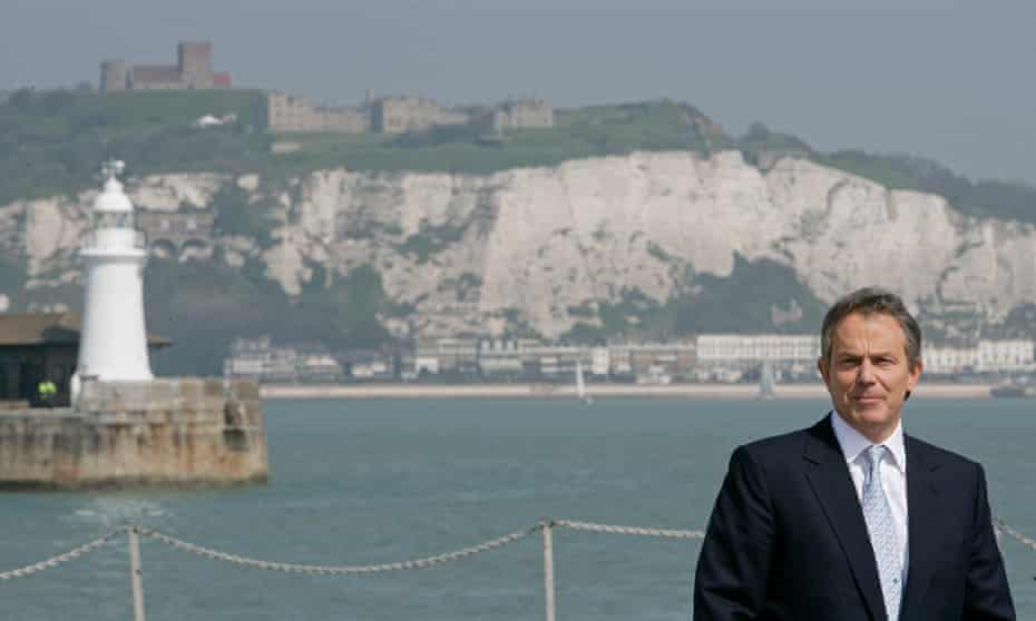 Tony Blair in Dover where he gave a speech on immigration in 2005.