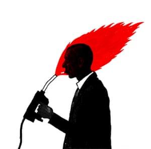Illustration by David Foldvari of a man lighting a cigarette with a petrol pump