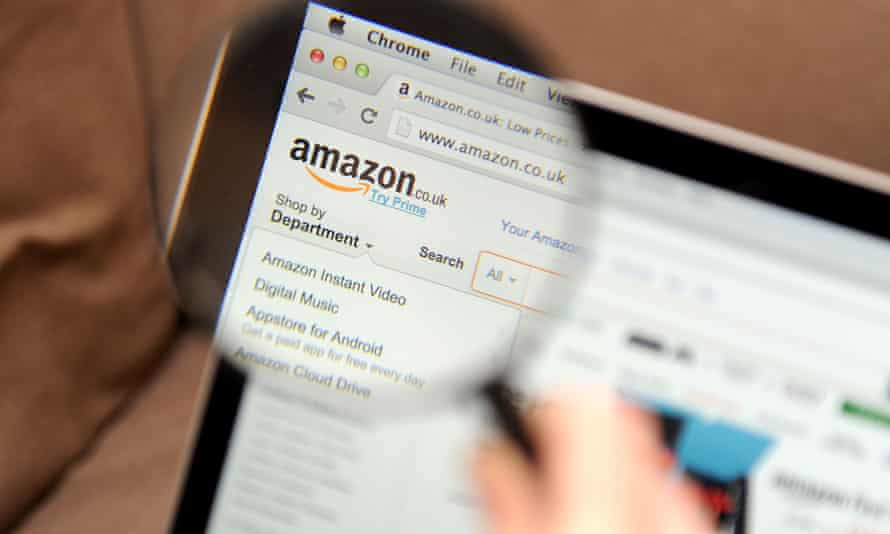 Magnifying glass and Amazon website