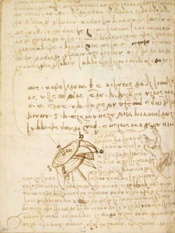 One of da Vinci's manuscripts, Codex Forster Book I Fol 44r.