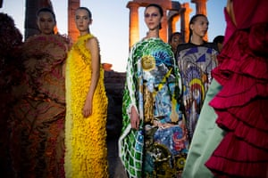 Titled Wisdom Begins in Wonder, the new collection was presented at the temple at Cape Sounion outside Athens last Thursday. Katrantzou secured permission through a special request made to the Central Archaeological Council by the children's charity Elpida of which she is patron. Proceeds from the ticket sales of the show was donated to the organisation.