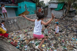 Children play in a deprived community in Navotas, Metro Manila, the Philippines.