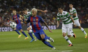 Neymar causes the Celtic defence yet more problems.