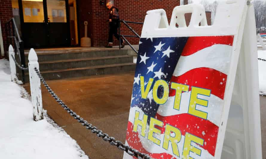 Sign outside a Democratic primary polling site in Allenstown, New Hampshire