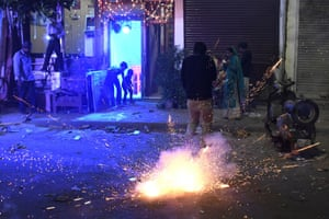 People using firecrackers celebrating Diwali Festival despite the ban imposed by the Supreme Court of India to control the air pollution in New Delhi