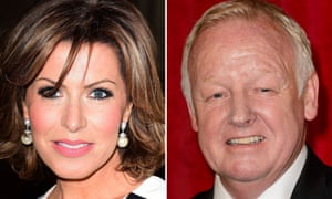 TV presenter Natasha Kaplinsky (L) and entertainer Les Dennis are among those who have received damages payouts from Trinity Mirror.