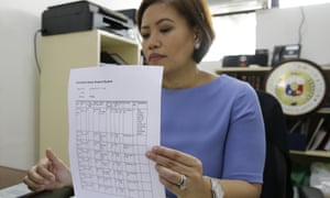 Philippine bureau of immigration spokesperson shows the travel records of Marilou Danley in Manila, Philippines on Wednesday.