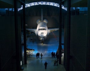 The US Space Shuttle Enterprise at the Smithsonian's National Air and Space Museum in Chantilly, Virginia.
