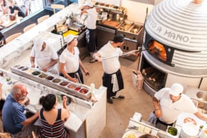 Aerial view of the kitchen, over and bar area of pizza restaurant Fatto a Mano, Brighton