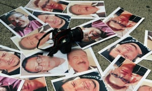 Cameras and pictures of journalists recently murdered are placed in Mexico City during a protest last year.