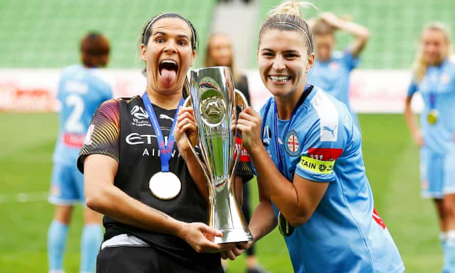 Lydia Williams (left) and Steph Catley after Melbourne City beat Sydney FC to win the 2020 W-League grand final in March.