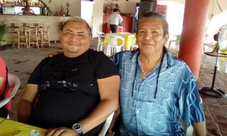 Pineda with his friend Agustín Hernández.