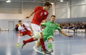 Max Kilman in action for England during a futsal international against Poland at St George's Park.