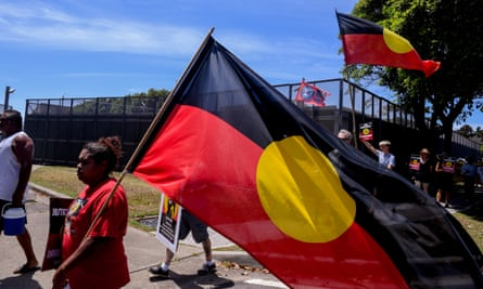 Friends and relatives of David Dungay protest outside Long Bay jail in Sydney.