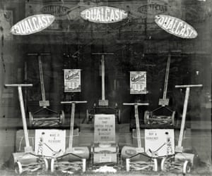 A comprehensive window display featuring the range of Qualcast, hand-powered cylinder lawn-mowers . The company was a large employer in the town with works off Victory Road
