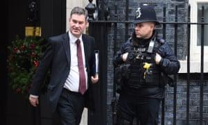 David Gauke, the justice secretary, leaving cabinet