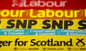 SNP, Scottish Labour and Scottish Conservative campaign material