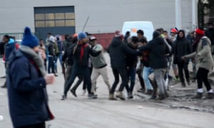 A video grab of clashes that broke out in Calais ferry port after the shootings on 1 February.