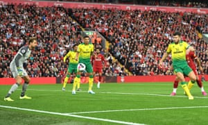 Grant Hanley of Norwich City slices the ball into the net to give the home side the lead.