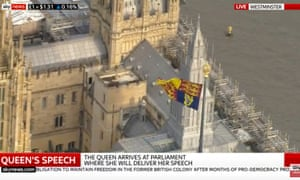 Royal Standard flying over Houses of Parliament.