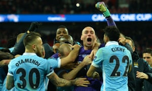 Manchester CIty's goalkeeper Willy Caballero is the hero with his team-mates after he saved three penalties in the penalty shoot-out.