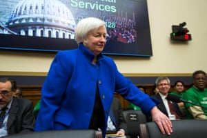 Chairwoman of the Federal Reserve Janet Yellen prepares to testify before the House Financial Services Committee hearing.